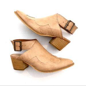 MI.IM • Open Heel Buckle Booties Size 7